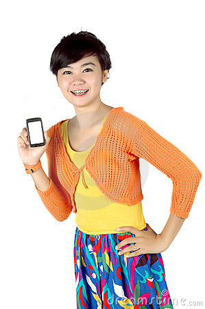 A woman shows a touch screen mobile phone