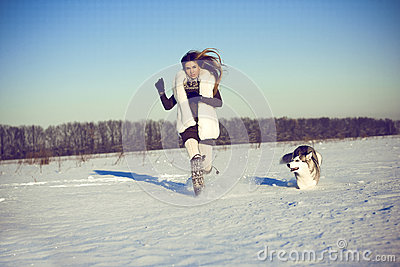 Woman with siberian husky