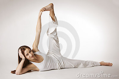 Woman side flank stretch Yoga posture (Parsvottana