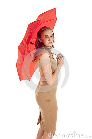 Woman side umbrella red