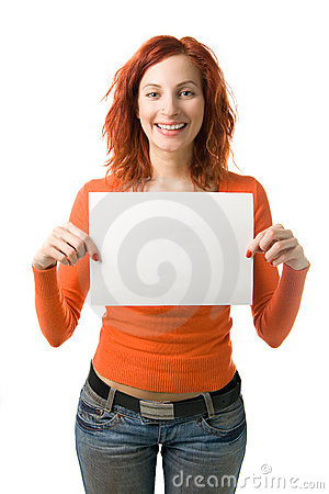 Woman with sign