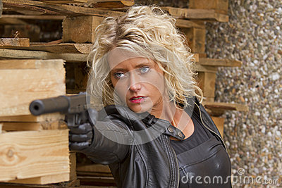 Woman with silencer gun