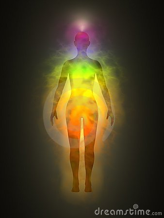 Woman silhouette with aura, chakras, energy