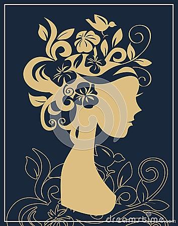 Woman silhouette in flowers