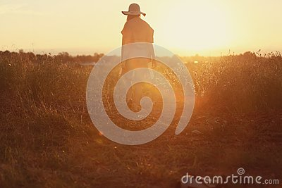 Woman In Silhouette In Golden Dawn Free Public Domain Cc0 Image