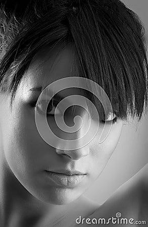 Woman silhouette portrait in Black & White