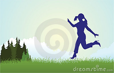 Woman silhouette running on meadow vector