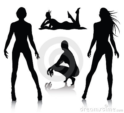 Free Woman Silhouette Set Royalty Free Stock Photo - 13332465