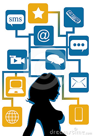 Woman silhouette with social icons