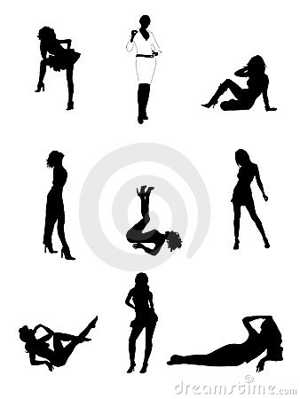 Free Woman Silhouettes Stock Image - 5119511