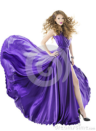 Free Woman Silk Dress, Long Fluttering Train, Girl Fabric Clothes Royalty Free Stock Photography - 43801207