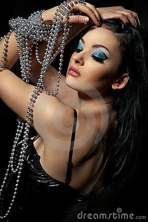 Woman with silver beads