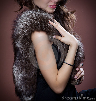 Woman in silver fox fur