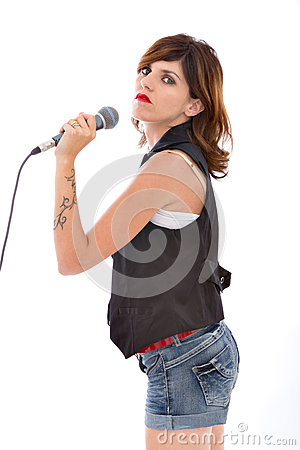 Woman singer with mic