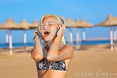 Woman singing loudly