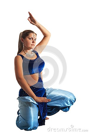 Woman sit in oriental arabian costume