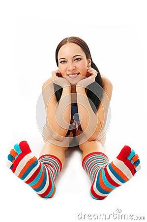 Woman sit in strip sock