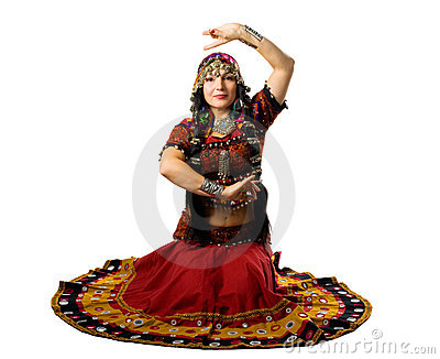 Woman sit in traditional indian costume