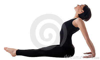 woman sit in yoga asana  simple seated pose stock images