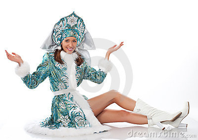 woman siting dressed as snow maiden