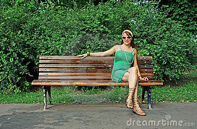 Girl Sitting Alone On Bench Little Girl Crossing Street