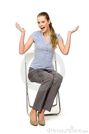 Woman sitting on chair gesturing