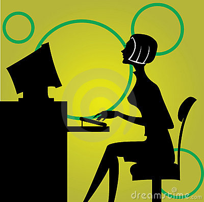 Woman sitting by the computer