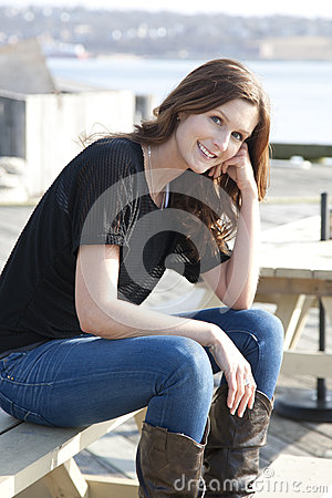 beautiful thoughtful woman smiling