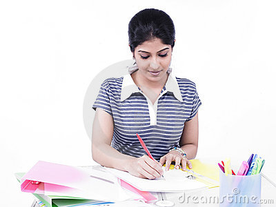 Woman sitting at her office desk