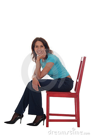 Free Woman Sitting On Chair Stock Photos - 1553063