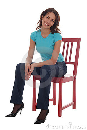 Free Woman Sitting On Chair Stock Image - 1557381