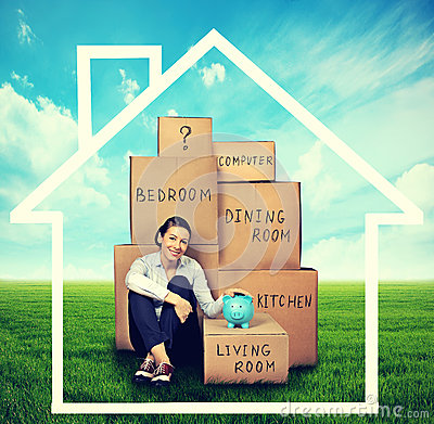 Free Woman Sitting On The Green Meadow With Boxes Royalty Free Stock Photo - 58889415