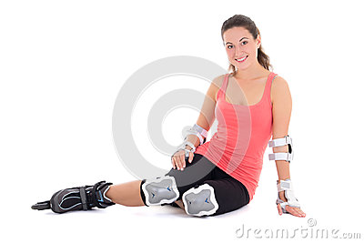 Woman sitting with rollers on legs