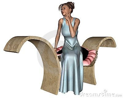 Woman Sitting on a Stone Bench