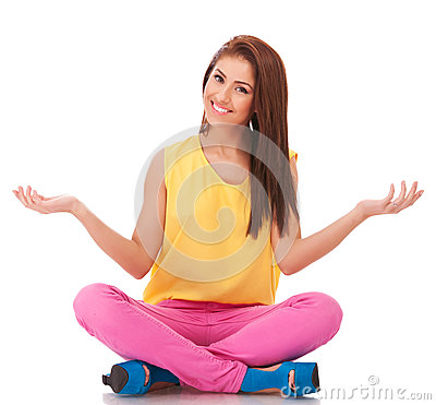 Woman sitting and welcoming to relax