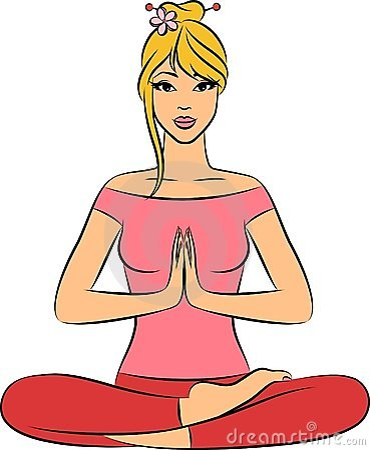 Woman sitting in yoga lotus position.