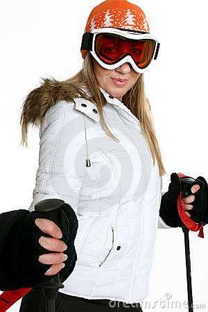 Woman ski goggles and helmet