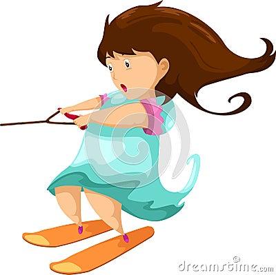 Woman playing on ski board