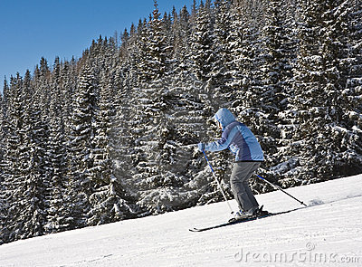 Woman Is Skiing At A Ski Resort Royalty Free Stock Image - Image: 16312736