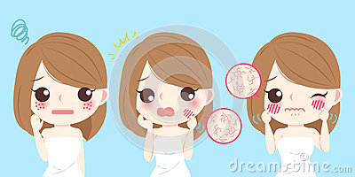 Woman with skin dry Vector Illustration