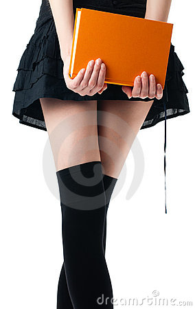 Woman in skirt and stockings