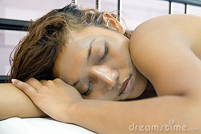 Woman sleep in bed