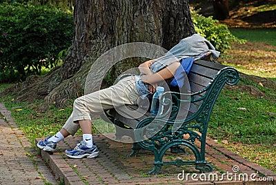 Woman sleep in the park