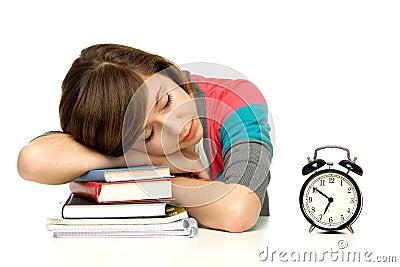 Woman Sleeping on Books