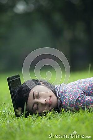 Woman Sleeping on laptop