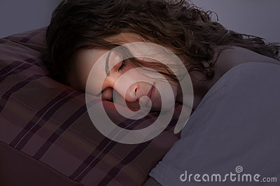 Woman Sleeping in a Red Pillow