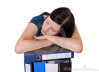Woman sleeps on files