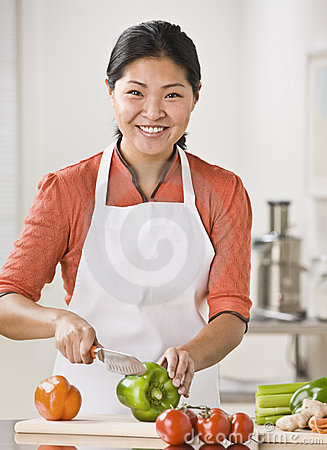 Woman Slicing Produce
