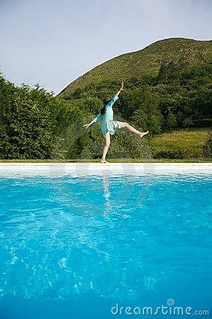 Free Woman Slides On Swimming Pool Border Stock Photography - 20854212