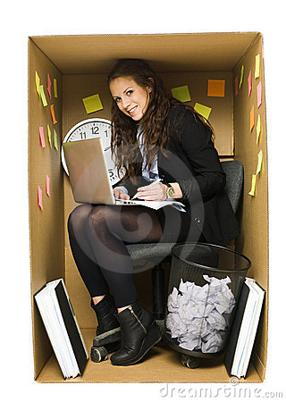 Woman in a small office